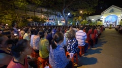 Night easter service in the Nha tho Vung Tau Catholic church Stock Footage