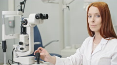 Beautiful Optometrist Smiling at Camera Stock Footage