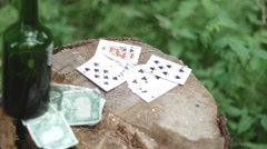 Forest poker game, gambling, booze. Stock Footage