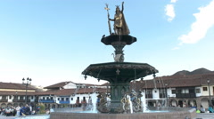 Fountain in the plaza de armas at cusco, peru Stock Footage