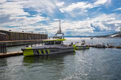 OSLO, NORWAY-JULY 5: Seaport July 5, 2016 in Oslo, Norway. Police boat in Osl Stock Photos