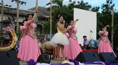 Thai people sing folk song and country music with dance local thai style show Stock Footage