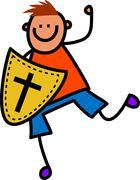 Shield of Faith Boy - stock illustration