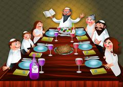 Passover Family Meal - stock illustration