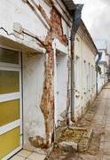 Destroy buildings on a city street Stock Photos