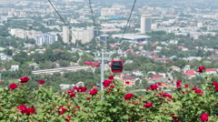 Almaty View Cable Road Time Lapse Stock Footage