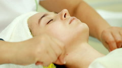Close up shot Doctor beautician massage Woman - stock footage
