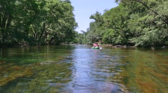 Quiet River In Provence France And People Paddling On Kayak Stock Footage