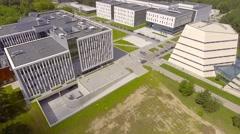 Aerial establishing shot complex of modern buildings. Stock Footage