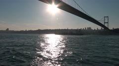 Boat trip under the bridges of the Bosphorus. Istanbul. Turkey. Stock Footage