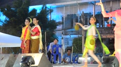 Thai people dancing thai style in traditional culture thai festival Stock Footage