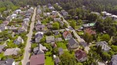 Aerial establishing shot, suburb neibourgh houses living aeria. Stock Footage