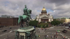 Aerial view of Saint Isaac's Cathedral an downtown of St.Petersburg Russia. Gold Stock Footage