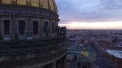 Aerial top view of first light over St.Petersburg Saint Isaac's Cathedral. Stock Footage