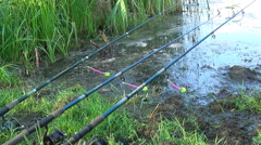 Fishing with spinning tips with bells on the riverside Stock Footage