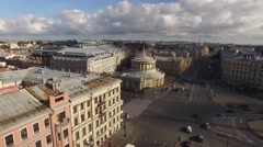Beautiful aerial quadcopter view Vosstaniya Square in St.Petersburg Russia Stock Footage