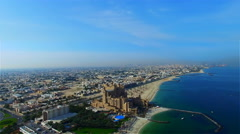 Aerial Flying Beach resort Sea video 4k Travel United Arab Emirates Seashore Stock Footage
