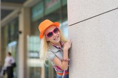 Adorable happy child in sunglasses - stock photo