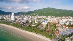 Patong Town and Beach in Phuket Aerial Ascending Pan Shot Stock Footage