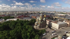 Unique aerial view of Church of the Savior on Spilled Blood. Russia Stock Footage
