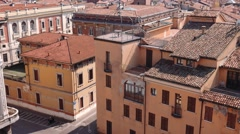 Tilt shot of Mantua rooftops, churches and terraces Stock Footage