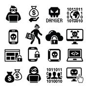 Hacker, cyber attack, cyber crime icons set Piirros