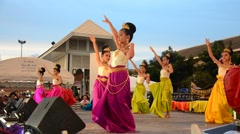 Thai people dancing thai style in traditional culture thai festival - stock footage