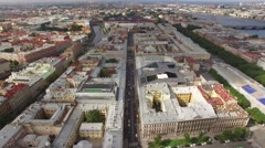 Aerial flight over Saint Petersburg center downtown. View of sightseeing's from  Stock Footage