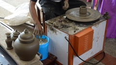 Professional thai old man using mechanic pottery made earthenware Stock Footage