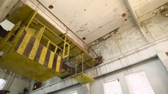 Industrial interior of an old abandoned factory building Stock Footage