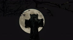 Spooky Cemetery Full Moon Stock Footage