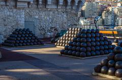 View on cannon-balls of the Monaco Princes Palace Stock Photos