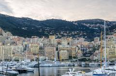 View on the harbor of Monaco with levels Stock Photos