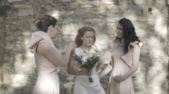 Bridesmaids chatting with Bride - stock footage