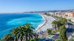Nice visit card view on the bay of Angels, France Stock Photos