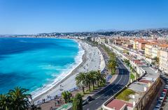 Panoramic view on Nice city with mountains and azure sea - stock photo