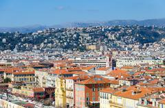 Rising levels with colourful appartments in Nice Stock Photos