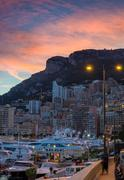 Warm atmosphere of evening in Monaco Stock Photos