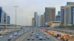 DUBAI, UNITED ARAB EMIRATES - MARCH 09 2016: City Traffic Sheikh Zayed road Stock Footage