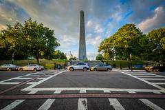 Intersection and the Bunker Hill Monument, in Bunker Hill, Charlestown, Bosto Stock Photos