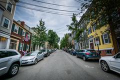 Lexington Street, in Bunker Hill, Charlestown, Boston, Massachusetts. Stock Photos