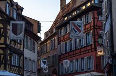Architecture of houses in Petite France quarter, Strasbourg Stock Photos