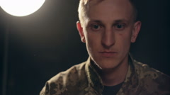 Ukrainian army officer with confidence and pride goes into battle for the order Stock Footage