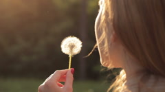 Girl blowing on dandelion Stock Footage