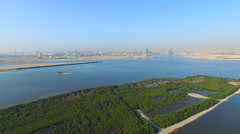 Aerial panorama Ras Al Khor wildlife sanctuary video 4k. United Arab Emirates Stock Footage