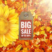 Sunflower on autumn foliage with sale tag. EPS 10 - stock illustration