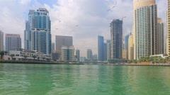 Sailing Boat Bridge Dubai Jumeira Marina video 4k. Skyscrapers in UAE Stock Footage