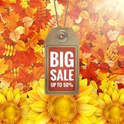 Sunflower on autumn foliage with sale tag. EPS 10 - stock illustration