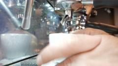 Coffee machine prepairing cup of coffee in coffee shop Stock Footage