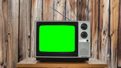 Zoom into Vintage Television with Chroma Green Screen Stock Footage